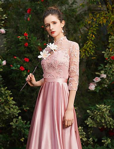 546066db859f Χαμηλού Κόστους Φορέματα Παρανύμφων-Γραμμή Α Λαιμόκοψη V Μάξι Δαντέλα    Σατέν Φόρεμα Παρανύμφων με