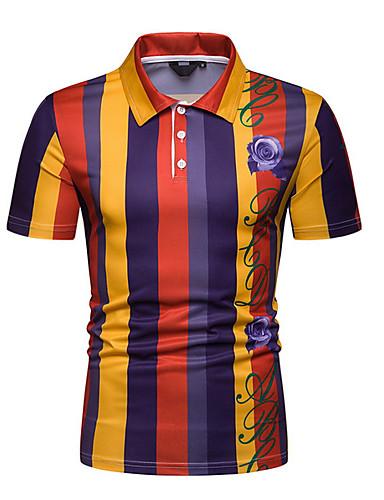 4e77adcac0 Homens Polo Estampa Colorida Colarinho de Camisa Laranja L