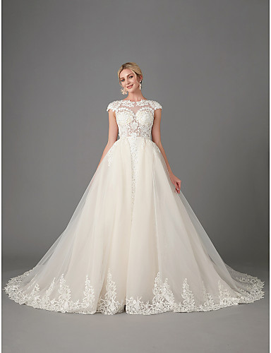 2a85a7d3e781 Princess / Mermaid / Trumpet Jewel Neck Chapel Train Lace / Tulle  Made-To-Measure Wedding Dresses with Beading / Appliques by LAN TING BRIDE®  / Sparkle & ...