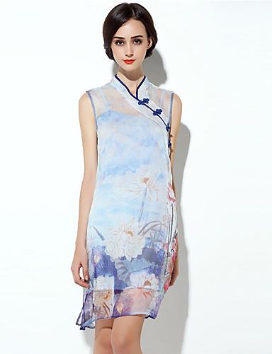 8e821d17b9e8 Ενηλίκων Γυναικεία Κινέζικο Στυλ Σφήκα με σφήκα Φορέματα Cheongsam Για  Πάρτι Αρραβώνων Πάρτι πριν το Γάμο 100% Μετάξι Midi Φόρεμα