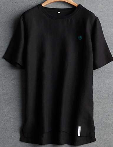 Enfärgad T-shirt Herr Rund hals Vit XXXL