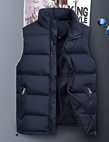 voordelige Heren donsjassen & parka's-Heren Dagelijks Standaard Effen Normaal Vest, Polyester Mouwloos Winter Coltrui blauw / Zwart XXXXL / XXXXXL / XXXXXXL