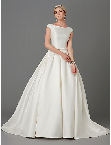 846f4b04f66a Princess Bateau Neck Court Train Satin Made-To-Measure Wedding Dresses with  Bow(s) / Buttons by LAN TING BRIDE®