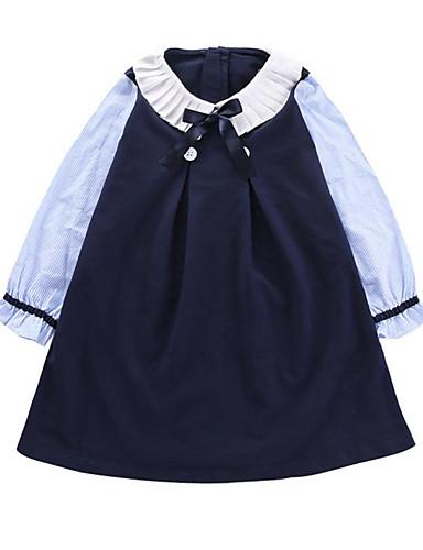 Barn / Baby Jente Aktiv / Søt Lapper Sløyfe / Lapper Langermet Ovenfor knéet Bomull / Polyester Kjole Navyblå