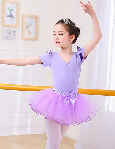 preiswerte Ballettbekleidung-Tanzkleidung für Kinder / Ballett Austattungen Mädchen Training / Leistung Elasthan / Gitter Kaskaden Rüschen Kurzarm Röcke / Gymnastikanzug / Einteiler