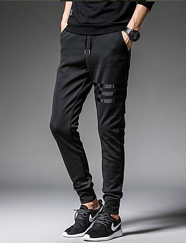 abordables Pantalones de Hombres-Hombre Básico Pantalones de Deporte Pantalones - Un Color Negro