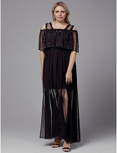 voordelige Grote maten jurken-A-lijn V-hals Tot de grond Chiffon Schoolfeest Jurk met Kristaldetails door TS Couture®