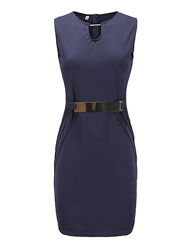 Per Donna Sofisticato Elegante Attillato Fodero Vestito - Collage, Tinta Unita Sopra Il Ginocchio #07205326 Qualità Eccellente