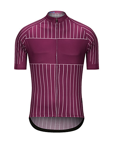 cheap Cycling Clothing-Men's Short Sleeve Cycling Jersey - Rose Red Stripes Bike Jersey Top Sports Terylene Clothing Apparel / High Elasticity