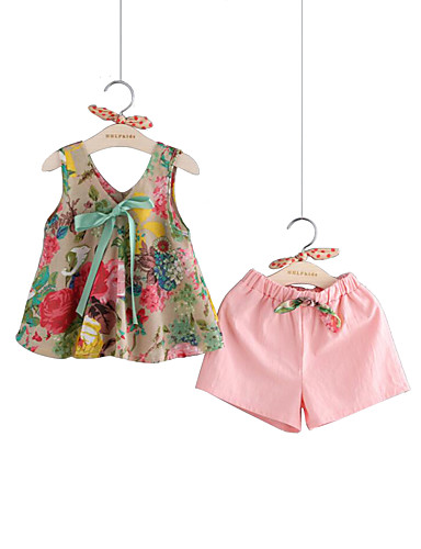 Toddler Girls' Active / Street chic Party / Daily Solid Colored / Floral Bow / Print Sleeveless Regular Regular Cotton / Linen Clothing Set Pink