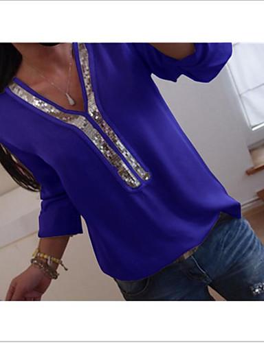 billige Dametopper-Løstsittende V-hals Store størrelser T-skjorte Dame - Ensfarget Fuksia XXXL