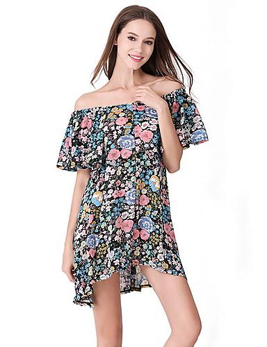 04a635f93cad Γυναικεία Βασικό Γραμμή Α Φόρεμα - Φλοράλ