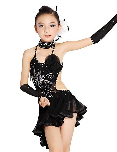 099351f137b9 Latin Dance / Kids' Dancewear Outfits Girls' Training / Performance  Polyester / Mesh Cascading Ruffles / Crystals / Rhinestones / Paillette  Sleeveless Dress ...