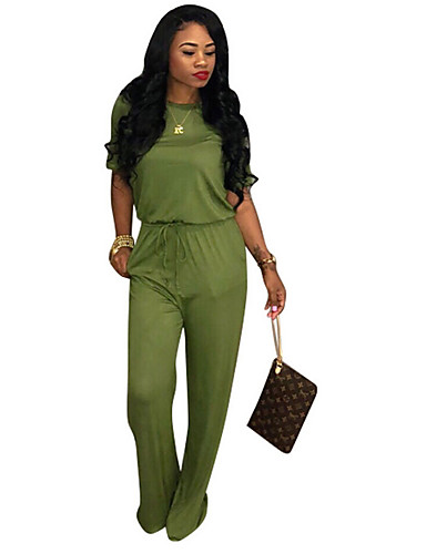 f8a355c4050 Women s Street chic Green Black Orange Wide Leg Jumpsuit