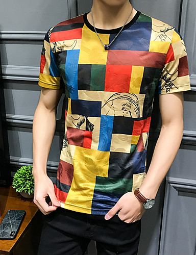 cheap Men's Tees & Tank Tops-Men's Plus Size Slim T-shirt - Check Round Neck Rainbow XXXL