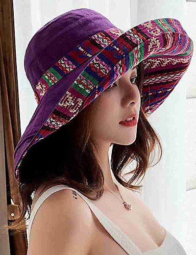 billige Hatter til damer-Dame Aktiv søt stil Solhatt Blomstermønster Bomull Polyester Høst Vinter Navyblå Lilla Gul
