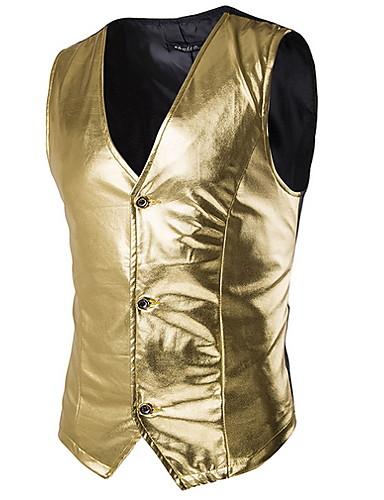 voordelige Herenblazers & kostuums-Heren Vest, Effen V-hals Polyester Goud / Zwart / Zilver