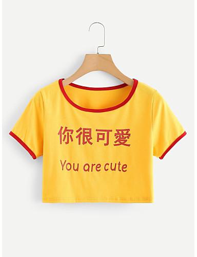 2019 Ultimo Disegno T-shirt Per Donna Con Stampe, Alfabetico Cotone Giallo M - Skinny #07171673