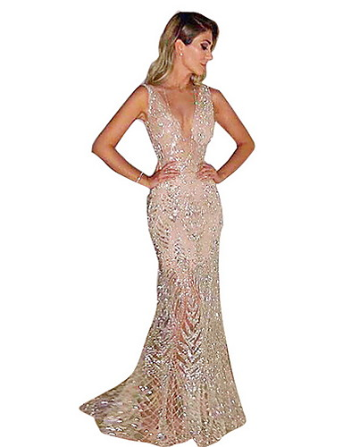 78b8668f34e2 Fashion Glitter Dresses Women's Elegant Trumpet / Mermaid Dress - Solid  Colored Sequins Gold Silver L XL XXL