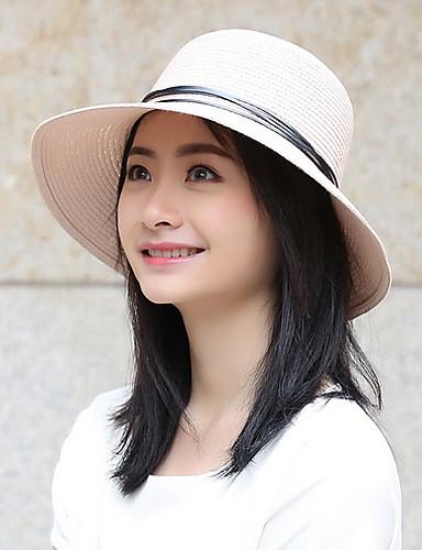 Kadın's Temel Polyester Güneş şapkası Solid Bej Koyu Mavi Haki