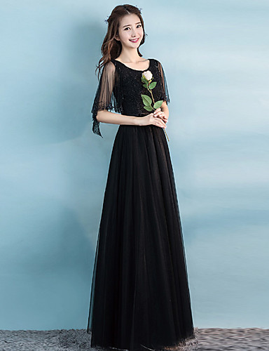 a6c9bfca2c A-Line Jewel Neck Floor Length Tulle Bridesmaid Dress with Sequin / Sash /  Ribbon by LAN TING Express