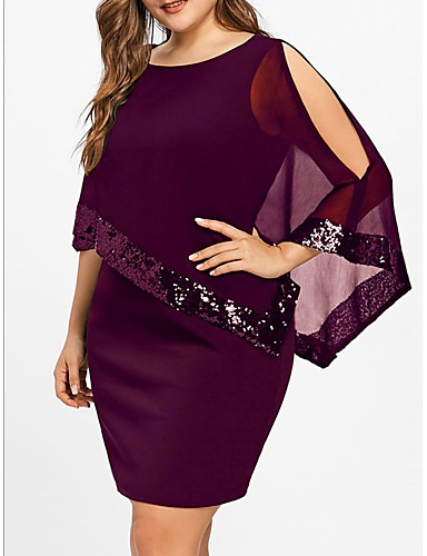 cheap Women's Plus Size Dresses-Basic T Shirt Dress - Women's Solid Colored Sequins Patchwork Black Purple Wine XXXL XXXXL XXXXXL