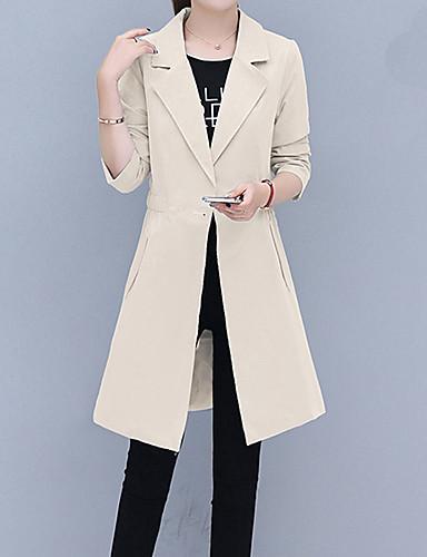 a61394f6d94 여성용 일상 긴 트렌치 코트, 솔리드 스트레이트 칼라 긴 소매 폴리에스테르 블러슁 핑크 / 밝은 블루 / 카키 L / XL / XXL