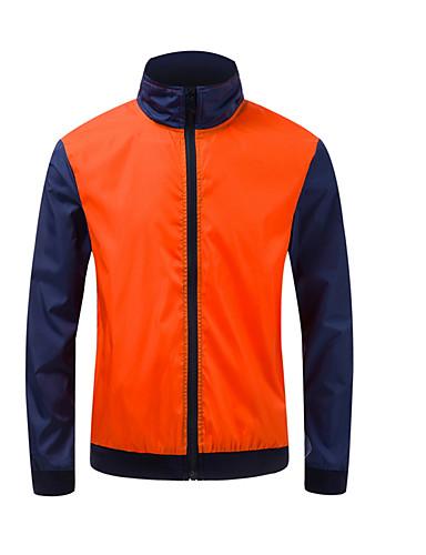voordelige Herenjacks & jassen-Heren Dagelijks Standaard Herfst Normaal Jack, Kleurenblok Opstaand Lange mouw Polyester blauw / Wit / Oranje