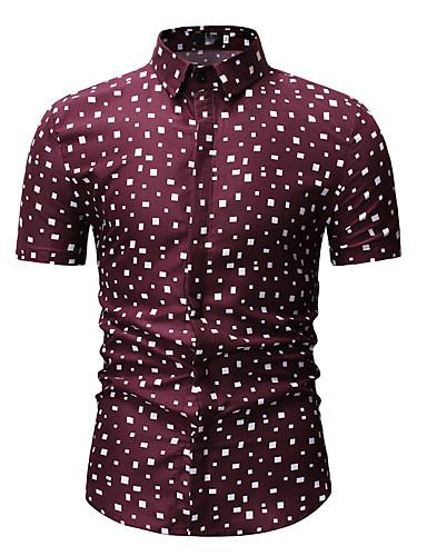 voordelige Herenoverhemden-Heren Print Overhemd Polka dot Klassieke boord Wit