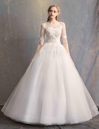 abordables Robes de Mariée 2019-Robe de Soirée Bijoux Longueur Sol Dentelle / Tulle Robes de mariée sur mesure avec Appliques par LAN TING Express