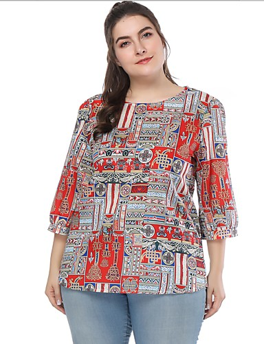 71daabc3de85 Mulheres Tamanhos Grandes Blusa Estampado, Estampa Colorida / Gráfico Solto  Vermelho XXL