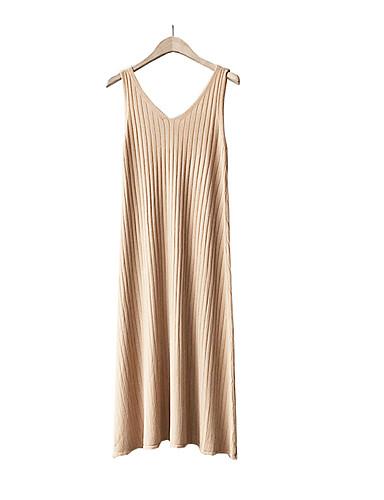 868c267c3d4 Women s Basic Elegant Bodycon Sheath Sweater Dress - Solid Colored Striped  Tassel Black Beige Yellow One-Size