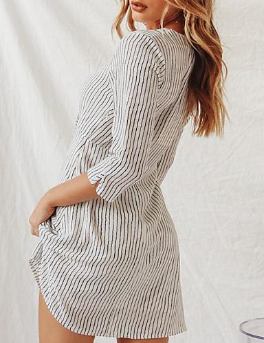 2822b77718e7 Γυναικεία Βασικό Κομψό Γραμμή Α Φόρεμα - Ριγέ