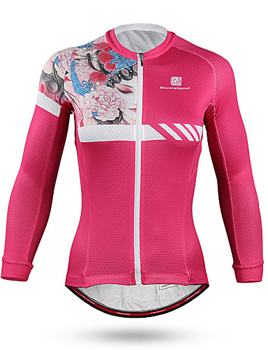 cheap Cycling Clothing-Mountainpeak Women's Long Sleeve Cycling Jersey Fuchsia Floral Botanical Bike Jersey Top Windproof Breathable Quick Dry Sports Spandex Mountain Bike MTB Road Bike Cycling Clothing Apparel