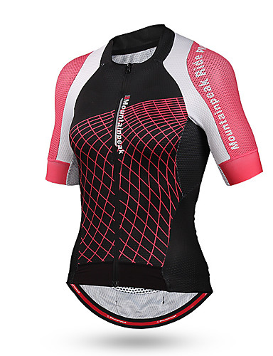 cheap Cycling Clothing-Women's Short Sleeve Cycling Jersey - Pink Plaid / Checkered Bike Jersey Top Breathable Quick Dry Sports Rayon Mountain Bike MTB Road Bike Cycling Clothing Apparel / High Elasticity