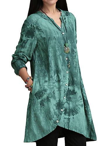 abordables Hauts pour Femme-Chemise Grandes Tailles Femme, Géométrique - Coton Col en V Rose Claire