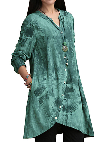 povoljno Ženske majice-Veći konfekcijski brojevi Majica Žene Pamuk Geometrijski oblici V izrez Blushing Pink