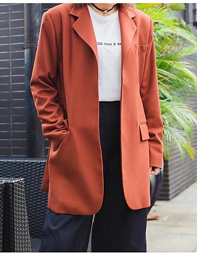 voordelige Damesblazers & jasjes-Dames Blazer Overhemdkraag Polyester Oranje / Slank