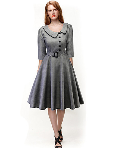 저렴한 여성 드레스-여성용 우아함 A 라인 드레스 - 솔리드 무릎 위
