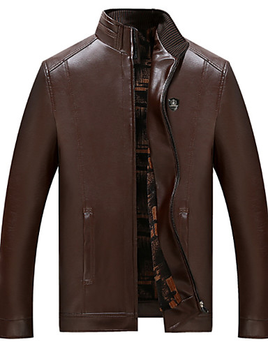 Men's Daily Basic Spring &  Fall Regular Leather Jacket, Solid Colored Stand Long Sleeve PU Brown / Black XXL / XXXL / XXXXL