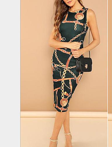 hesapli Seksi Elbiseler-Kadın's Dışarı Çıkma İnce Kılıf Elbise - Grafik, Desen Diz-boyu