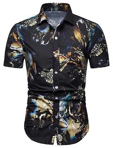 Χαμηλού Κόστους Αντρικές Μπλούζες-Ανδρικά Πουκάμισο Συνδυασμός Χρωμάτων Στάμπα