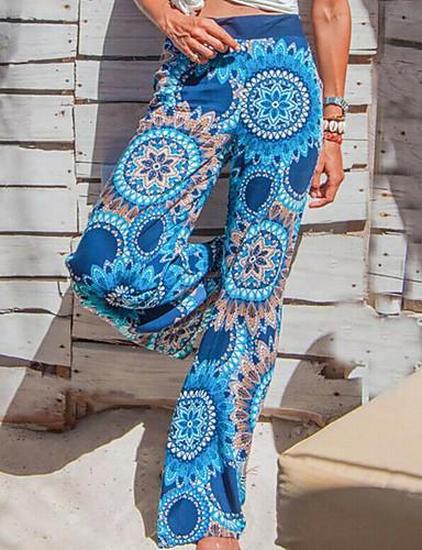abordables Pantalons Femme-Femme Basique Ample Pantalon - Fleur Fleur Noir Gris Rouge L XL XXL