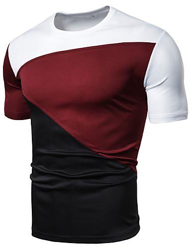 קולור בלוק צווארון עגול רזה טישרט - בגדי ריקוד גברים טלאים שחור XL