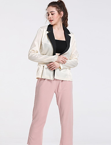 billige Ytterklær til damer-Dame Blazer, Ensfarget Rundet jakkeslag Polyester Beige / Tynn