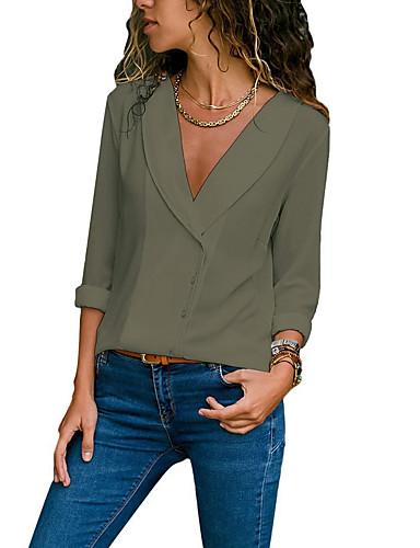 povoljno Majica-Veći konfekcijski brojevi Majica Žene Jednobojni V izrez Blushing Pink