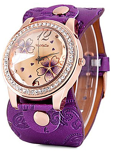 cheap Floral Watches-Women's Quartz Watches Flower Fashion Black White Blue PU Leather Quartz Black Red Purple Casual Watch 1 pc Analog One Year Battery Life