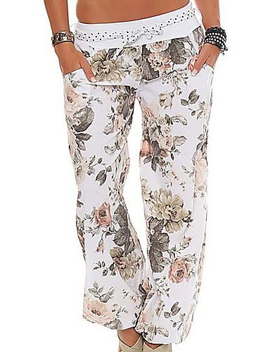 billige Tights til damer-Dame Grunnleggende Store størrelser Løstsittende / Bloomers Bukser - Blomstret Rosa Militærgrønn Kakifarget XXXL XXXXL XXXXXL