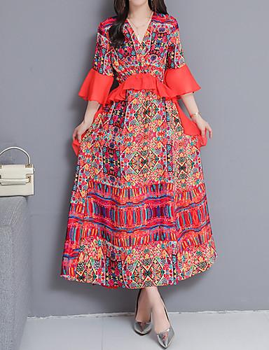 voordelige Maxi-jurken-Dames Slank Wijd uitlopend Jurk V-hals Maxi