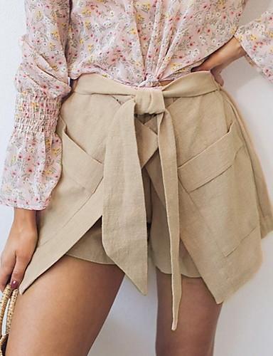 ราคาถูก กางเกงขาสั้น-สำหรับผู้หญิง พื้นฐาน เพรียวบาง กางเกงขาสั้น กางเกง - สีพื้น สีน้ำเงิน สีดำ สีกากี S M L